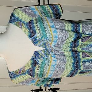 One World cold shoulder handkerchief hem tunic with bling v-neck